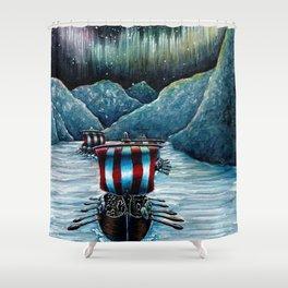 Drakkar in Norse Fjord Ft. Aurora Borealis Shower Curtain