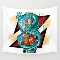 dbz Wall Tapestries featuring DBZ - A Hero by Mr. Stonebanks