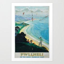 Pwllheli Vintage Travel Poster Art Print