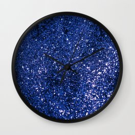 Sparkling DARK BLUE Lady Glitter #1 shiny #decor #art #society6 Wall Clock