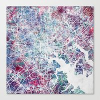 baltimore Canvas Prints featuring Baltimore by MapMapMaps.Watercolors