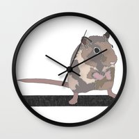 rat Wall Clocks featuring Rat by AJVicoso