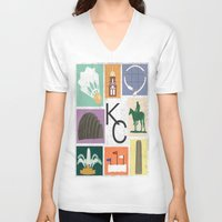 kansas city V-neck T-shirts featuring Kansas City Landmark Print by Jenna Davis Designs