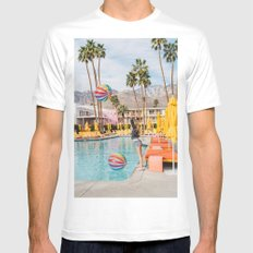 Palm Springs Pool Day IV White Mens Fitted Tee MEDIUM