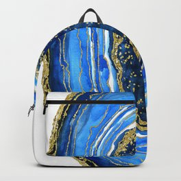 Cobalt blue and gold geode in watercolor Backpack