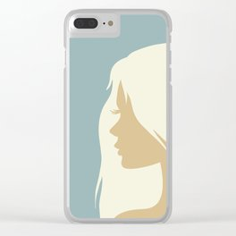 blonde girl in profile Clear iPhone Case