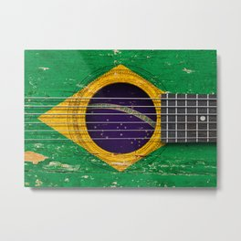 Old Vintage Acoustic Guitar with Brazilian Flag Metal Print