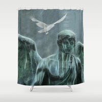 angel Shower Curtains featuring Angel by Lucia