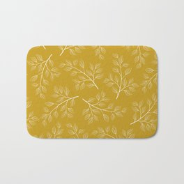 White Branch and Leaves on Mustard Yellow Bath Mat