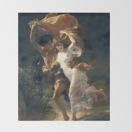 The Storm by Pierre-Auguste Cot 1880, French Throw Blanket