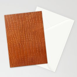 Brown faux crocodile leather texture Stationery Cards