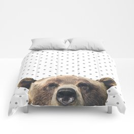 Bear - Gray Dots Comforters