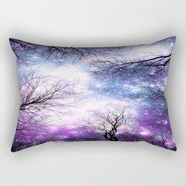 Black Trees Violet Purple Blue Space Rectangular Pillow