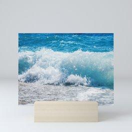 Breaking Wave of Blue Ocean on sandy beach Summer Background Mini Art Print
