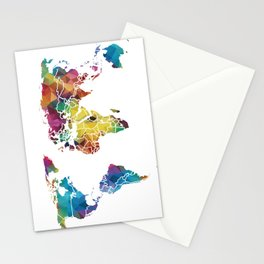 Geometric World Map Stationery Cards