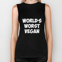 World's Worst Vegan Vegetarian Meat Lover T-Shirt Biker Tank