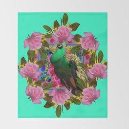 GREEN PEACOCK &  PINK ROSE GARDEN TURQUOISE ART Throw Blanket