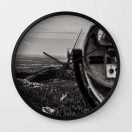 Mountain Tourist Binoculars Black and White Wall Clock
