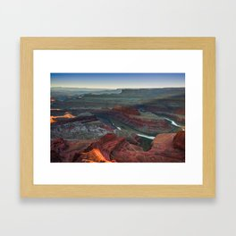 Colorado River and Dead Horse Point State Park at Sunset Framed Art Print