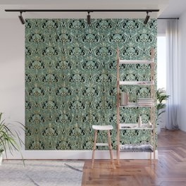 Art nouveau, teal,gold,pattern,belle époque,chic Wall Mural