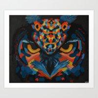Blue/Red Owl Art Print