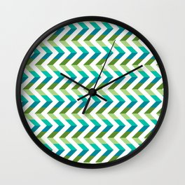 Chevron Picnic Time - Geometric pattern with blue and green Wall Clock