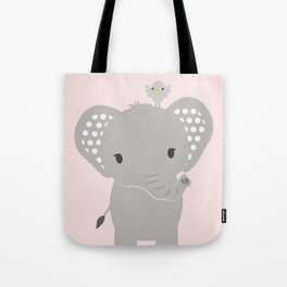 Elephant with Pink Background Tote Bag