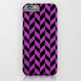 Herringbone (Black & Purple Pattern) iPhone Case