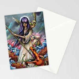 Woman Slaying a Sea Beast Stationery Cards