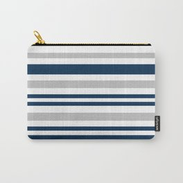 Horizontal stripes , gray , blue ,white Carry-All Pouch