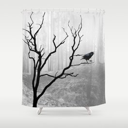 Black Crow in Foggy Forest A118 Shower Curtain