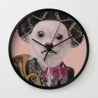 mexican Wall Clocks featuring Mexican Chihuahua by Rachel Waterman