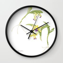 3 Stem flowering yellow and purple cattleya orchid Wall Clock