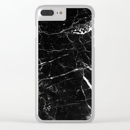 Black and White Marble Clear iPhone Case