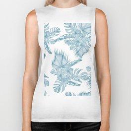 Palm Leaf Hibiscus Classic Blue + White Biker Tank