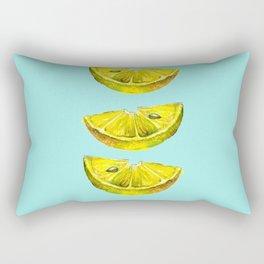 Lemon Slices Turquoise Rectangular Pillow