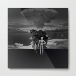 Atomic Bomb Cloud with Wooden Dolls Metal Print