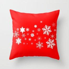 Red Christmas Snowflake  Banner Throw Pillow