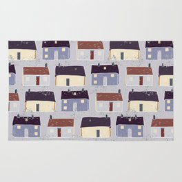 Houses Village Vector Pattern Repeat Seamless Background Rug