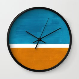 Rothko Minimalist Mid Century Modern Vintage Colorful Pop Art Colorfields Dark Teal Yellow Ochre Wall Clock