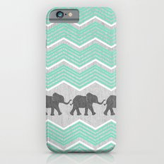 Three Elephants - Teal and White Chevron on Grey iPhone 6 Slim Case