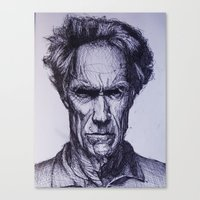 clint eastwood Canvas Prints featuring Clint Eastwood by Bronsolo