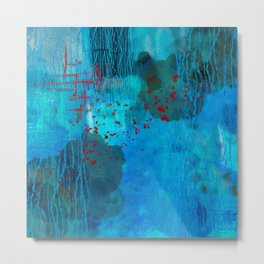 Blue Water Abstract Art Painting Metal Print