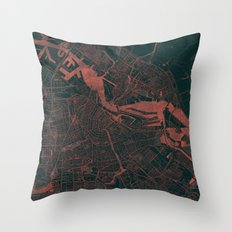 Amsterdam Map Red Throw Pillow