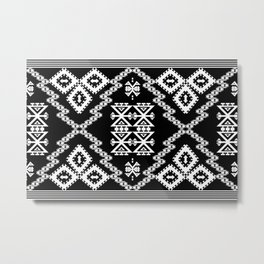 Black White Aztec 3 Metal Print