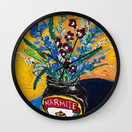 Wildflower Bouquet in Marmite Jar on Yellow and Blue Wall Clock