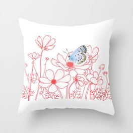 Cosmos and Butterfly Throw Pillow