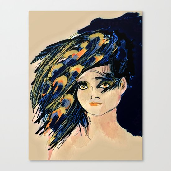 Peacock Girl Variation 1 Canvas Print
