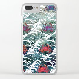 Japanese Red Crabs and Waves Clear iPhone Case