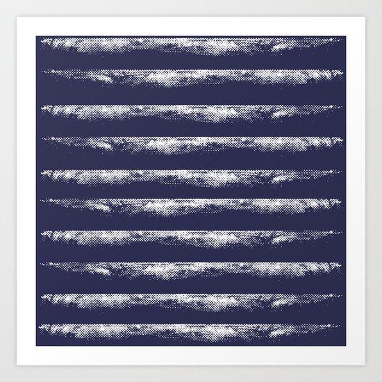 Irregular Stripes Dark Blue Art Print